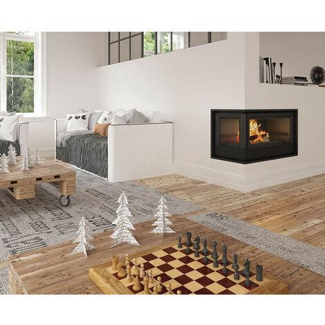 Insert cheminée à bois Holguin avec turbine 17,5 kW 2 vitres gauche - Prise d'air exterieur: avec