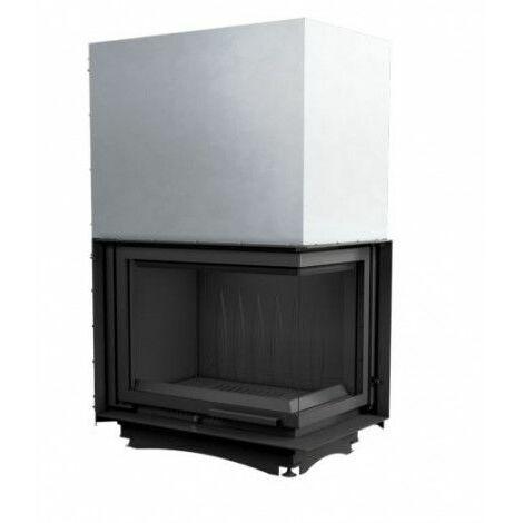 Insert cheminées à bois MELINIA porte guillotine 2 côtés vitrés, version Droite 29 kW