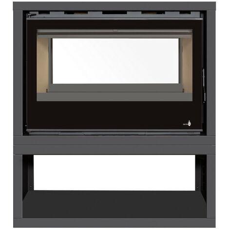 INSERT Poêle à bois avec support box Classic Vision double face - porte Battante - puissance 13kW + Ventilation