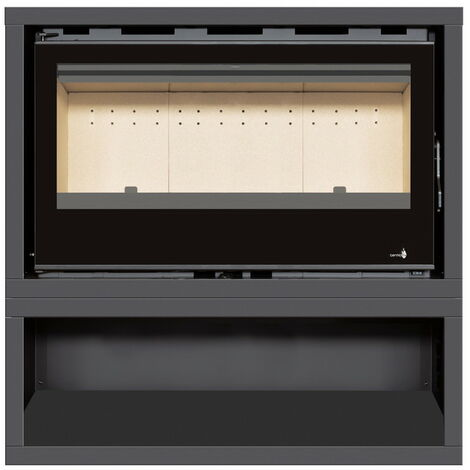 INSERT Poêle à bois avec support box Classic Vision - porte Battante avec puissance de 14kW + Ventilation