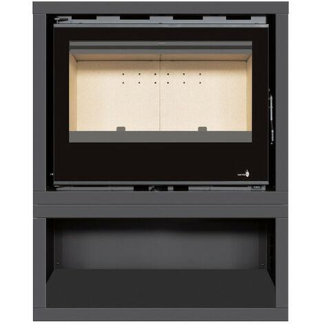 INSERT Poêle à bois avec support box Classic Vision - porte Battante - puissance 13kW + Ventilation