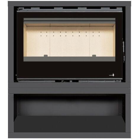 INSERT Poêle à bois avec support box Classic Vision - porte Battante - puissance de 14kW + Ventilation