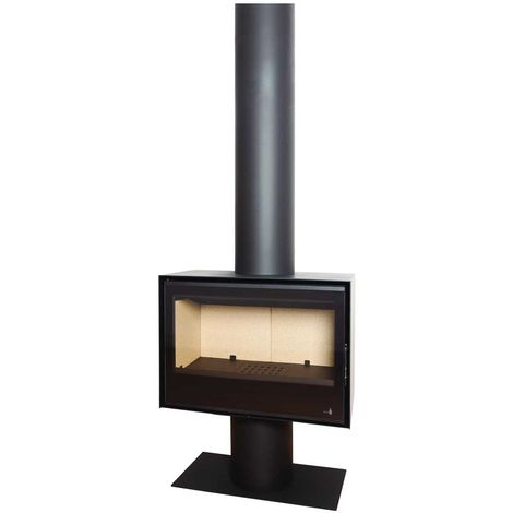 Insert Poêle à bois noir modèle SL270 + Cache tuyau 2Mx270mm + Base et Pied 700x350x360