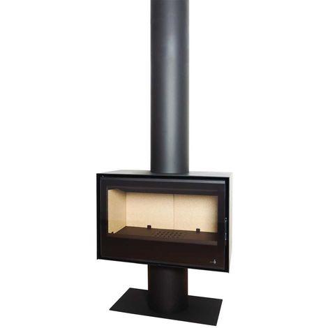 Insert Poêle à bois noir modèle SL280 + Cache tuyau 2Mx270mm + Base et Pied 700x350x360