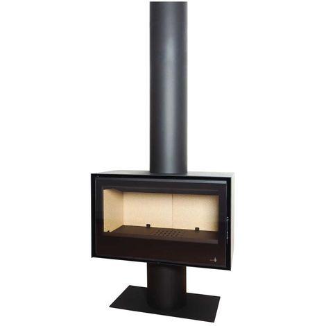 Insert Poêle à bois noir modèle SL290 + Cache tuyau 2Mx270mm + Base et Pied 700x350x360