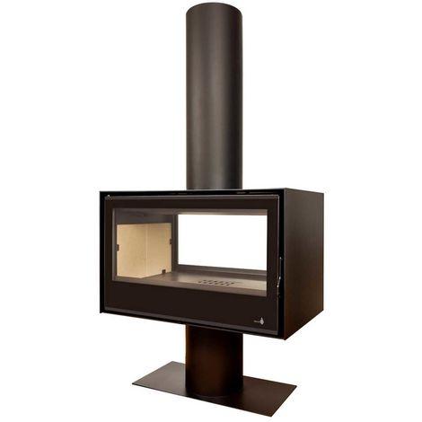 Insert Poêle à bois noir modèle SL290DF + Cache tuyau 2Mx270mm + Base et Pied 700x350x360
