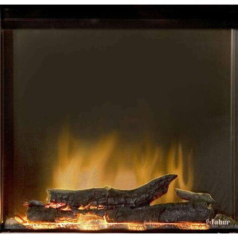 Insert Rana noir + kit bûches - 750/1500W - Optiflame