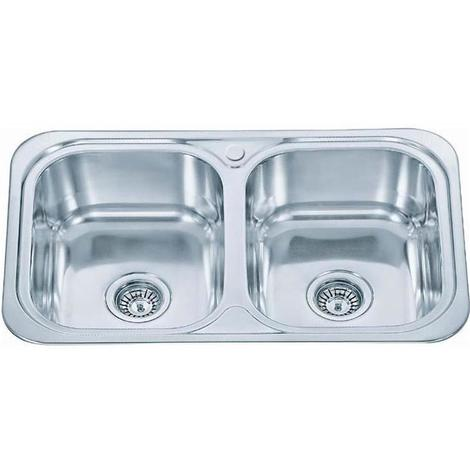 Inset Kitchen Sink Double Bowl Polished Finish (D23)