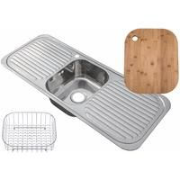 Inset Stainless Steel Single Bowl Kitchen Sink With 2 Drainers Large with bamboo chopping board and wire basket (C01 + cb + wb)