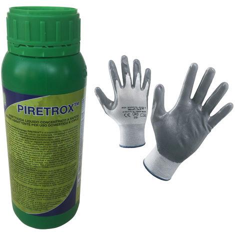Insetticida Piretrox ml 500 Concentrato con Piretro Naturale. Contro Tutti gli Insetti Volanti e Striscianti. In Omaggio un Paio di Guanti NBR. Non idoneo in agricoltura