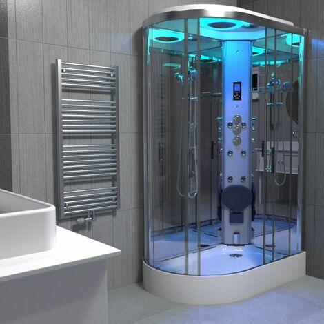 Insignia Chrome Steam Shower Cabin Enclosure Cubicle 1200x800 Offset RH Quadrant