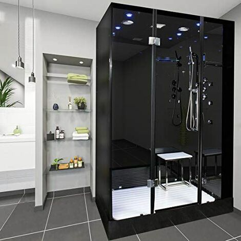 Insignia Noire Shower Enclosure Cubicle Glass Steam Cabin Rectangle Tray Black