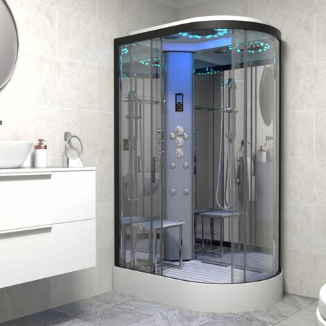 Insignia Platinum 1200 x 800 Shower Cabin Enclosure LH Offset Quad Black/Clear