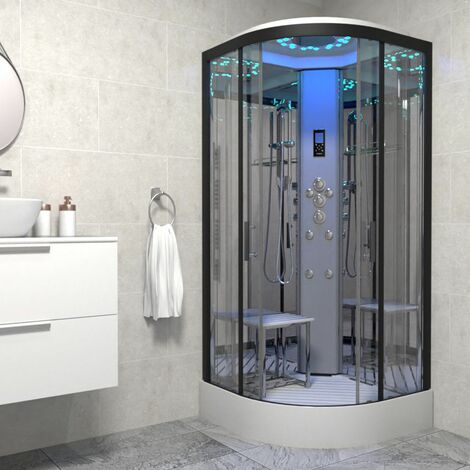 Insignia Platinum Non Steam Shower Cabin Enclosure Quadrant 900mm Black/Clear