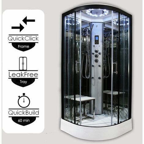 Insignia Platinum Tri Steam Shower Cabin Enclosure Quadrant 1000mm Black/Clear