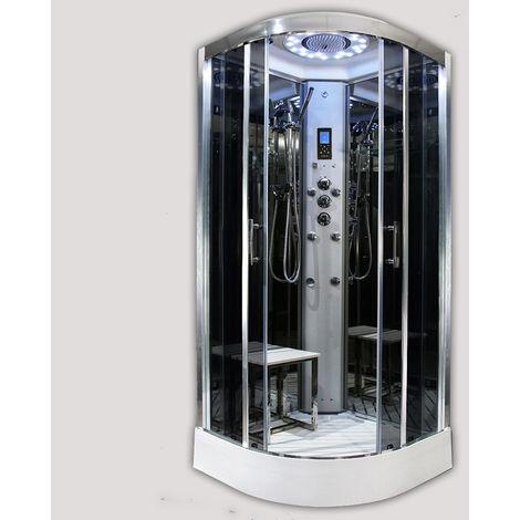 Insignia Platinum Tri Steam Shower Cabin Enclosure Quadrant 1000mm Chrome/Black