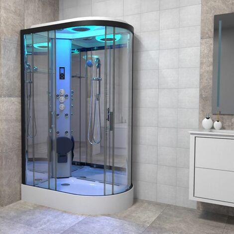 Insignia Premium 1100 x 700mm LH Shower Cabin Enclosure Offset Quad Black/Clear