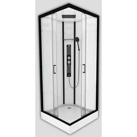 Insignia Square Shower Cabin Enclosure Non Steam 900x900 Monochrome Black Modern