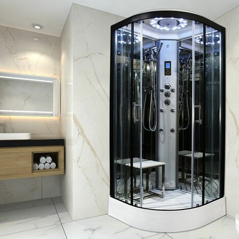 Insignia Steam Enclosure Quadrant Shower Cabin 800x800 Platinum Range Black