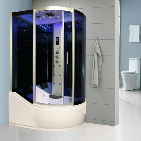 Insignia Steam Shower/Bath Cabin 1500x900mm LH Quadrant Body Jets Audio Chrome