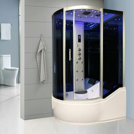 Insignia Steam Shower/Bath Cabin 1500x900mm RH Quadrant Body Jets Audio Chrome