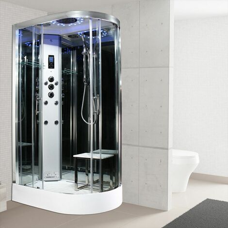 Insignia Steam Shower Cabin 1200x800mm LH Quadrant Body Jets Platinum Chrome