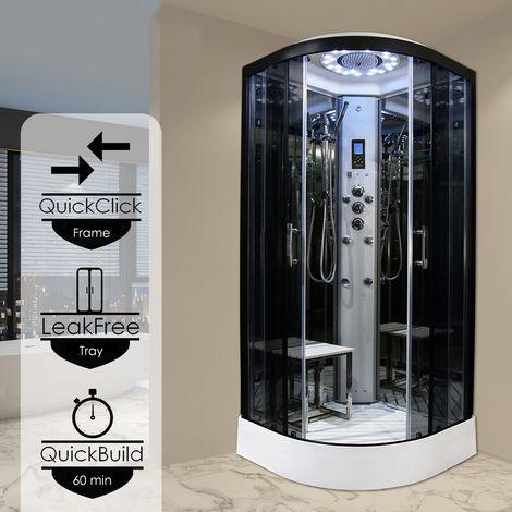Insignia Steam Shower Cabin Cubicle Enclosure 1000x1000 Body Jets Platinum Range