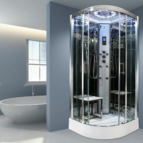 Insignia Steam Shower Cabin Enclosure 1000x1000 Body Jets Platinum Chrome Frame