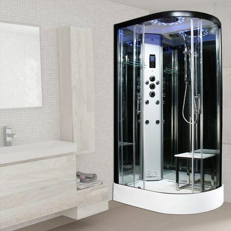 Insignia Steam Shower Cabin Enclosure 1200 x 800 LH Quadrant Body Jets Platinum