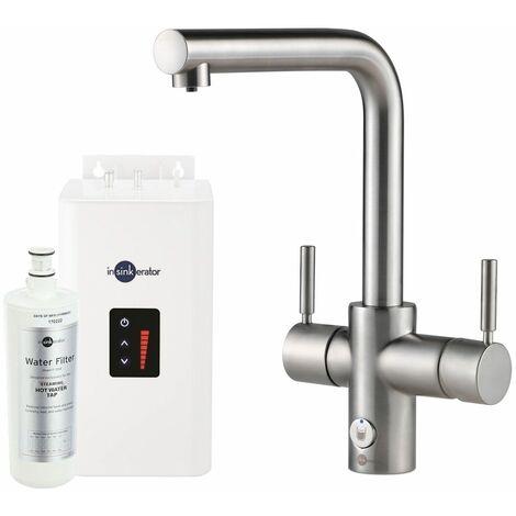 Insinkerator Tap 4 in 1 L Shape Hot & Cold Kicthen Sink Basin Brushed Finish
