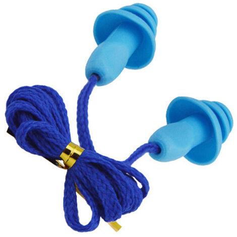 Insonorizadas tapon auditivo del oido de reduccion de ruido de silicona impermeable enchufes del arbol de navidad En forma reutilizables Tapones para los oidos de cordon, negro