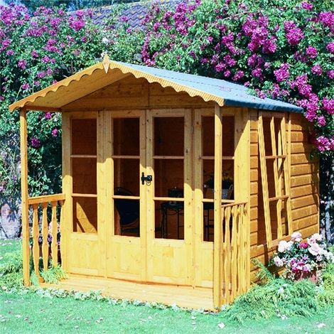 INSTALLED 10 x 7 (2.97m x 2.05m) - Premier Tongue And Groove - Apex Summerhouse - Veranda - 12mm Tongue and Groove Floor - INCLUDES INSTALLATION