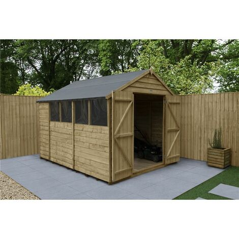 INSTALLED 10ft x 8ft Pressure Treated Overlap Apex Wooden Garden Shed - Double Doors - 4 Windows (3.1m x 2.5m) - Modular - INCLUDES INSTALLATION (CORE)