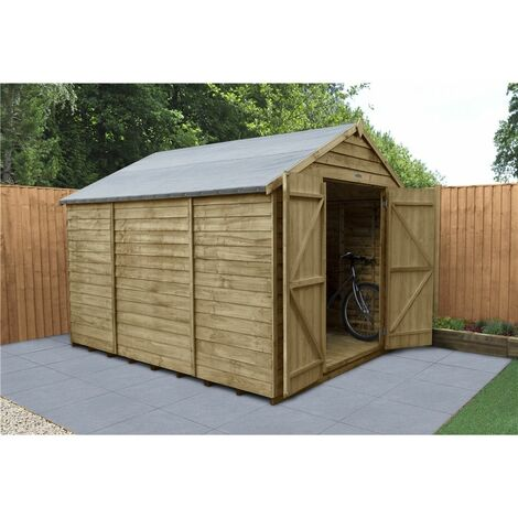 INSTALLED 10ft x 8ft Pressure Treated Overlap Apex Wooden Garden Shed - Double Doors - Windowless (3.1m x 2.5m) - Modular - INCLUDES INSTALLATION (CORE)