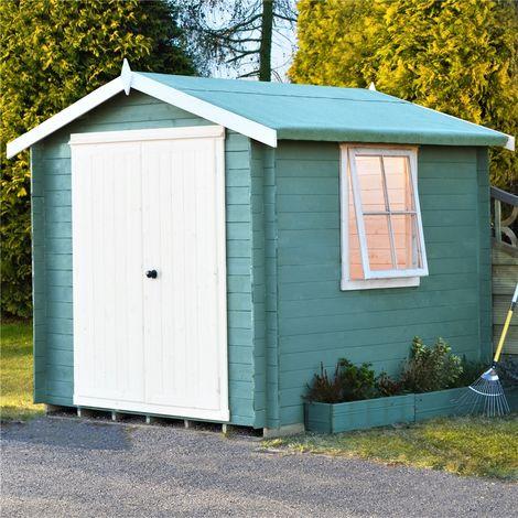 INSTALLED - 2.4m x 2.4m Premier Apex Log Cabin With Double Doors + Side Window + Free Floor & Felt (19mm)