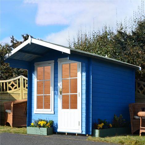 INSTALLED - 2.4m x 2.4m Premier Apex Log Cabin With Interchangeable Door and Window + Free Floor & Felt (19mm)