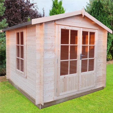 INSTALLED - 2.7m x 2.7m Premier Apex Log Cabin With Double Doors + Free Floor & Felt (19mm)