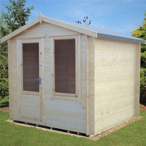 INSTALLED - 2.7m x 2.7m Premier Apex Log Cabin With Single Door And Window + Free Floor & Felt (19mm)