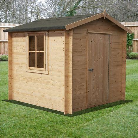 INSTALLED - 2.7m x 2.7m Premier Apex Log Cabin With Single Door + Free Floor & Felt (19mm)