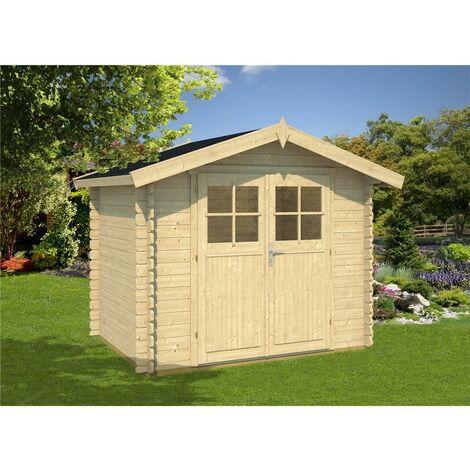 INSTALLED 3m x 2m Budget Apex Log Cabin (206) - Single Glazing (28mm Wall Thickness)