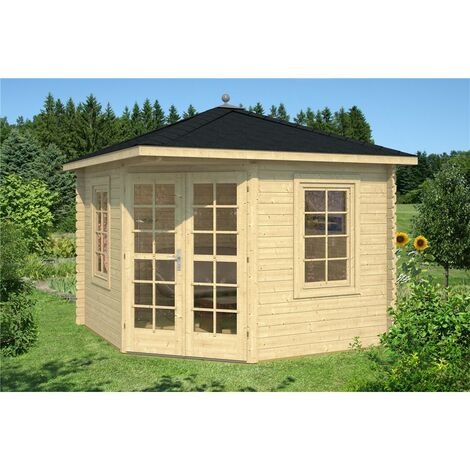 INSTALLED 3m x 3m Budget Apex Log Cabin - Corner (227) - Single Glazing (28mm Wall Thickness)