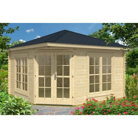 INSTALLED 3m x 3m Budget Apex Log Cabin - Corner (228) - Double Glazing (40mm Wall Thickness)