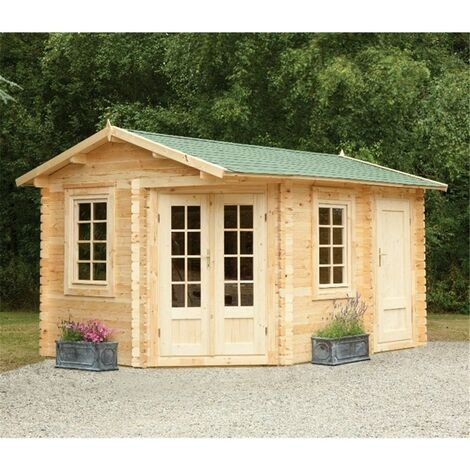 INSTALLED 4.0m x 2.8m Corner Log Cabin With Glazed Double Doors (RIGHT) - 34mm Wall Thickness **Includes Free Shingles** INSTALLATION INCLUDED
