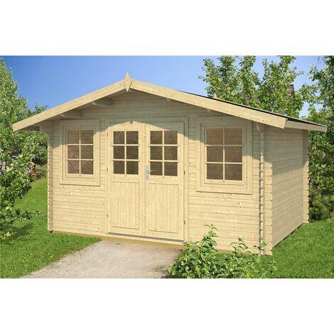 INSTALLED 4m x 3m Budget Apex Log Cabin (216) - Single Glazing (28mm Wall Thickness)