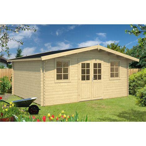 INSTALLED 5m x 4m Budget Apex Log Cabin (204) - Single Glazing (28mm Wall Thickness)
