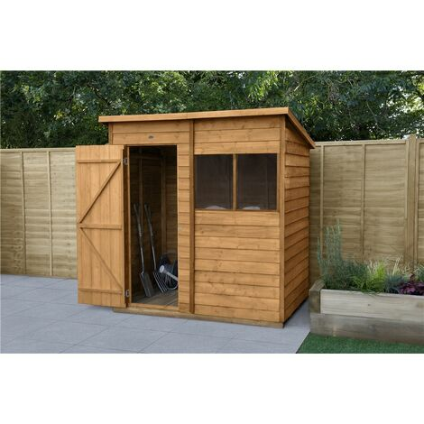 INSTALLED 6ft x 4ft Overlap Dip Treated Pent Shed - Double Doors (1.8m x 1.3m) - INCLUDES INSTALLATION - CORE