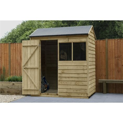INSTALLED 6ft x 4ft Pressure Treated Apex Reverse Overlap Shed (1.8m x 1.3m) - Modular - INCLUDES INSTALLATION (CORE)
