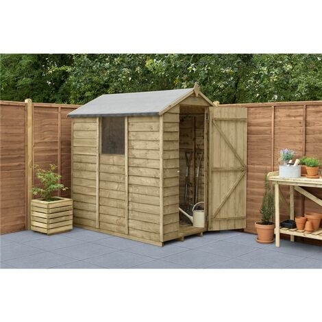 INSTALLED 6ft x 4ft Pressure Treated Overlap Apex Wooden Garden Shed With 1 Window (1.8m x 1.3m) - Modular- INCLUDES INSTALLATION (CORE)
