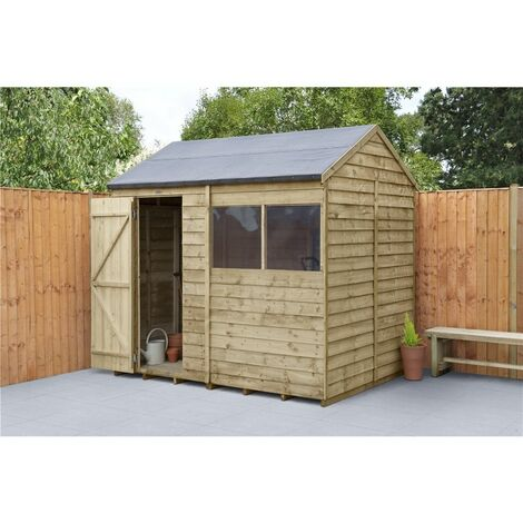 INSTALLED 6ft x 8ft Pressure Treated Apex Reverse Overlap Shed (2.4m x 1.9m) - Modular - INCLUDES INSTALLATION (CORE)