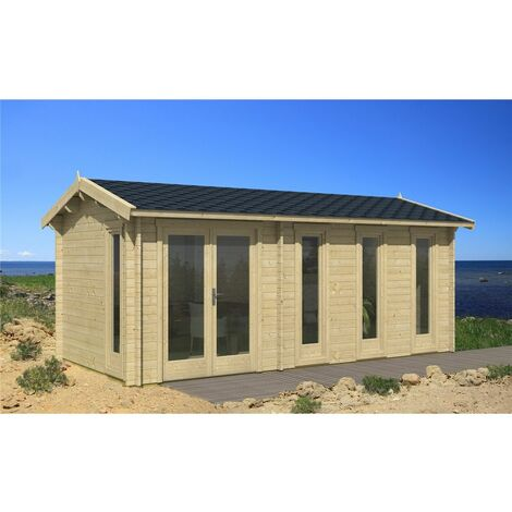 INSTALLED 6m x 3m Budget Apex Log Cabin (217) - Double Glazing (40mm Wall Thickness)